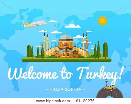 Welcome to Turkey poster with famous attraction vector illustration. Travel design with Saint Sophie Cathedral in Istanbul. Worldwide air traveling, time to travel, discover new places, explore world