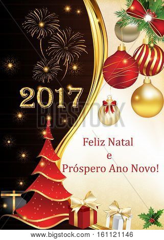 Portuguese season's greetings - Christmas & New Year card ( Feliz Natal e Prospero Ano Novo) - We wish you Merry Christmas and Happy New Year! Print colors used.