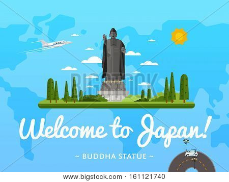 Welcome to Japan poster with famous attraction vector illustration. Travel design with standing Buddha statue. Time to travel, discover new cultural places concept, tour guide for traveling agency