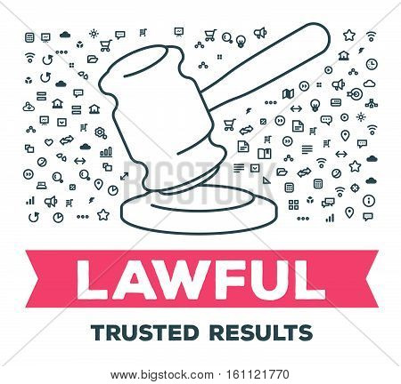 Vector Creative Illustration Of Big Gavel With Set Of Line Icons And Word Typography On White Backgr