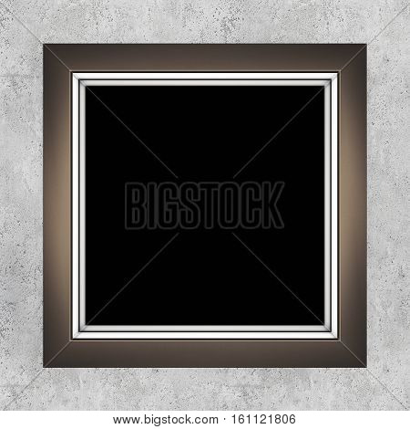 Modern makeup mirror on concrete wall. 3D rendering