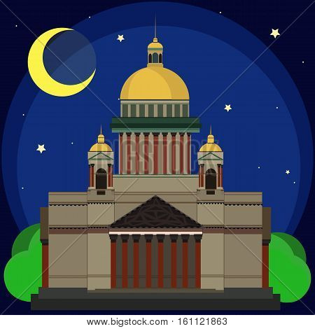 Vector illustration of Isaac's Cathedral at night. Flat Design.