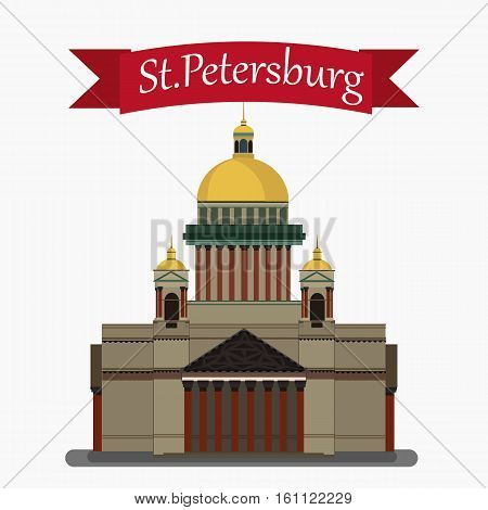 Vector illustration of Isaac's Cathedral.Isolated. With simple text St.Petersburg .Flat Design.