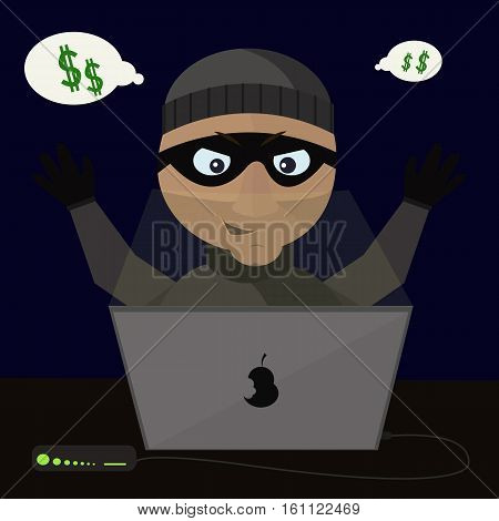 Thief with the help of laptop steals money from foreing accounts.Vector illustration.