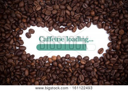 Background made of coffee beans with loading bar and message