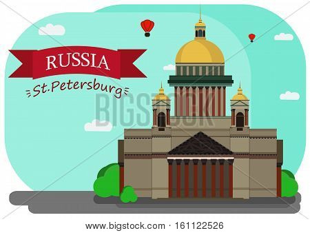 Vector illustration of Isaac's Cathedral. With simple text Russia.St.Petersburg .Flat Design.