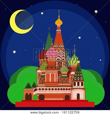 Vector illustration of Sain Basil's Cathedral at night. Flat Design.