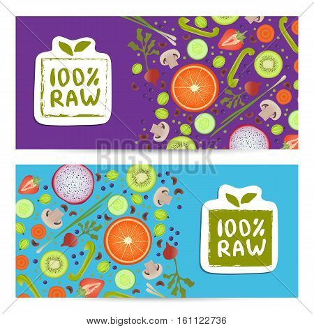 Raw food horizontal flyers set vector illustration. Vegetarian, gmo free, fresh and natural, raw food, best quality, healthy lifestyle, bio and eco nutrition concept. Fruits and vegetables background.