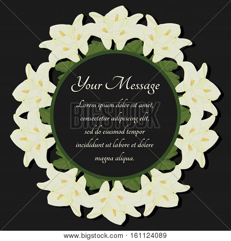 Funeral frame. Mourning illustration with flowers calla lilies. Black background.