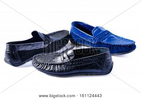 Men's leather loafers (moccasins) isolated on white