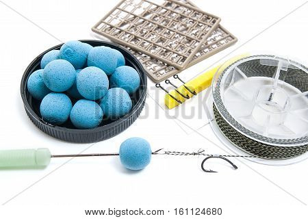 Dry Feed For Carp Fishing. Carp Boilies And Accessories For Carp Fishing Isolated On White Backgroun