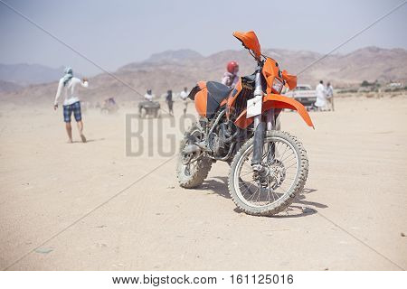Sharm el sheikh, Egypt. Trip safari with motorcycle in desert