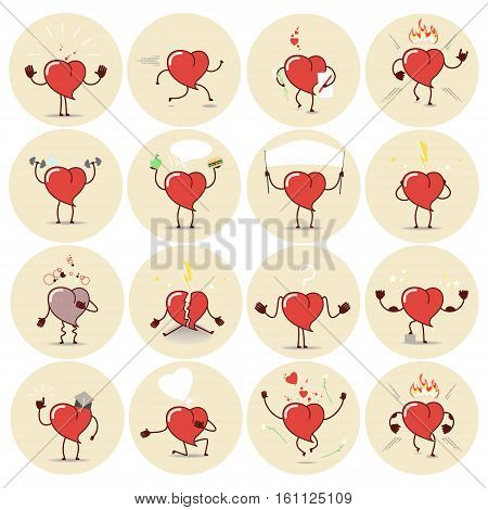 Heart icons stickers set. Different emotions different positions. cartoon Vector