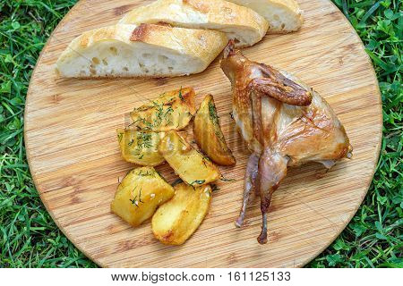 Delicious fried quail with fresh slice of bread and potatos on the wooden round board on green grass. Roasted Partridge, quail grilling on sunny day. Top view. Picnic on sunny day. Culinary concept with delicious food.