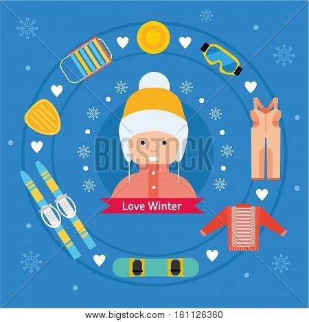 Winter flat sports icons. Girl with winter vacation items concept. Sun, ski, sweater, sleds, snowboard, jumpsuit, safety glasses and winter scooter web icon set.