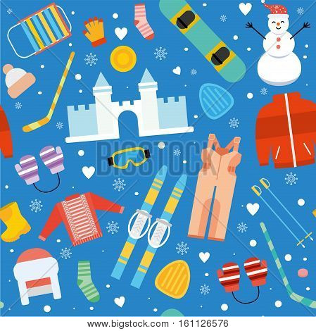 Winter kids activity seamless pattern. Sports child snowboarding, skiing outdoor and vacation pattern background. Winter sports and activity wallpaper in flat design.