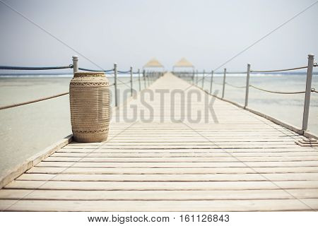 Wooden pontoon stretching into the Red sea in Sharm el Sheikh