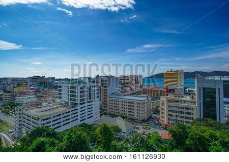 Kota Kinabalu,Sabah-Dec 9,2016:Kota Kinabalu city view on 9th Dec 2016 in Kota Kinabalu,Sabah,Borneo.Kota Kinabalu City is hub for islands,resorts,award winning sunsets & Mount Kinabalu.