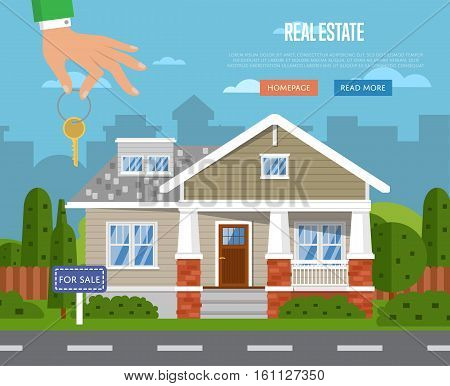 Real estate agency website template with sale house vector illustration. Commercial background. Real estate business concept. Family dream home. Trading house. Advertising company, online business