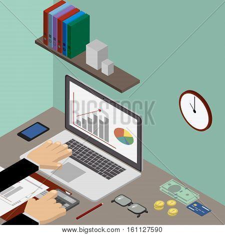 Workplace accountant's office financier businessman. Vector isometric