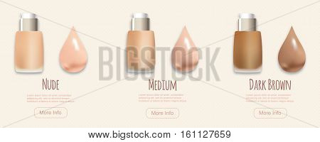 Vector makeup bottles and drops as swatches, different colors and shades. BB cream concept, vector illustration.