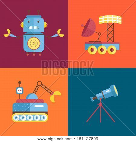Space objects cartoon icons. Angry robot with claws, exploration rovers, telescope on stand vector illustrations isolated on orange and blue background. For app button, logo, web design