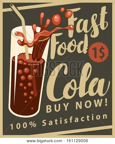 vector banner with cola drink glass in retro style