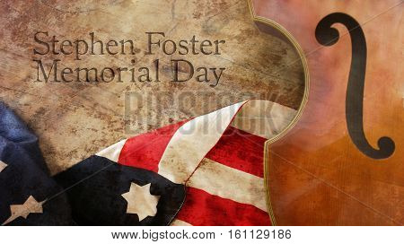 Stephen Foster Memorial Day. Violin America Flag on Wood