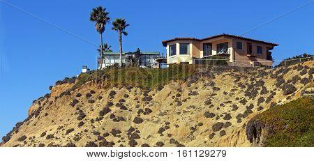 Small house and beautiful landscape, California, America.