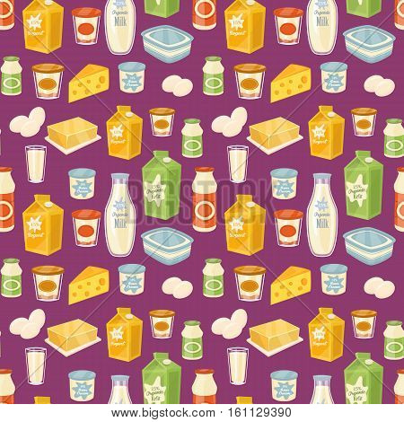 Dairy seamless pattern with different dairy icons on perpl background, vector illustration. Healthy nutritious concept with butter, eggs, milk, cream, yoghurt, cheese, kefir. Natural and healthy food