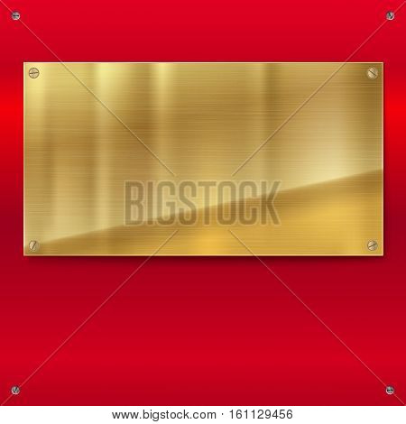 Shiny brushed metal plate with screws. Stainless steel golden, bronze, yellow banner on red polished background, vector illustration for you