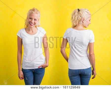 Woman in white round nect T-shirt on yellow background