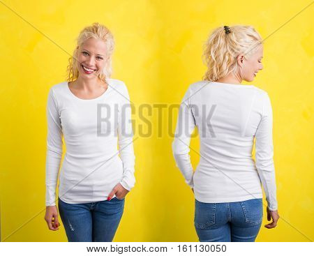 Woman in white long sleeve shirt on yellow background