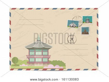 Japanese ancient temple. Pagoda tower. Postal envelope with famous architectural composition, postage stamps and postmarks vector illustration. Postal services. Envelope delivery
