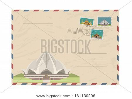 Lotus Temple in Delhi, India. Postal envelope with famous architectural composition, postage stamps and postmarks on white background vector illustration. Postal services. Envelope delivery.
