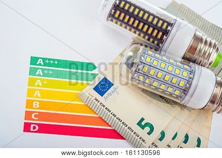 LED is energy saving lamp for save money. Eco concept. LED lamp, chart and money