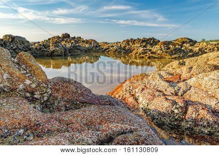 Stones Rocks Sand. Beautiful seascape with sea and rock in Nang Thong Beach, Khao Lak, Thailand.