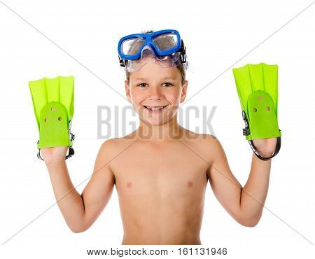Funny boy in diving mask and flippers on hands, isolated on white