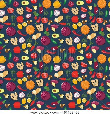 Seamless pattern of fresh and healthy food. Vegetables pattern in flat style healthy eat concept. Background with Healthy Food Eco Farm Food.