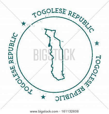 Togo Vector Map. Retro Vintage Insignia With Country Map. Distressed Visa Stamp With Togo Text Wrapp