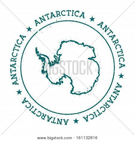 Antarctica Vector Map. Retro Vintage Insignia With Country Map. Distressed Visa Stamp With Antarctic