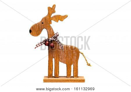 Decorative wooden Christmas elk with bells. Isolate