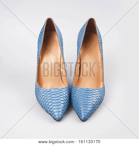 Blue shoes isolated on the white background