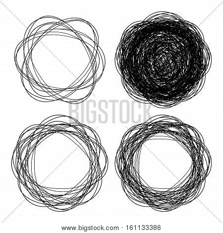 Set of hand drawn line emblem circles, scribble sketch vector drawing circles.  Doodle vector logo design elements for  health, treatment, medical, cosmetic. Vector icon illustration