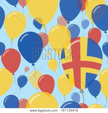 Aland Islands National Day Flat Seamless Pattern. Flying Celebration Balloons In Colors Of Swedish F