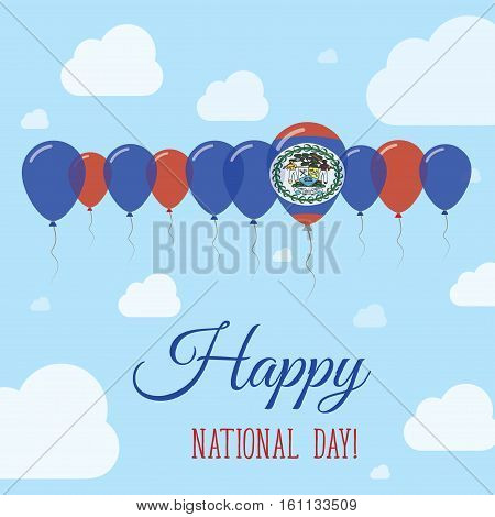 Belize National Day Flat Patriotic Poster. Row Of Balloons In Colors Of The Belizean Flag. Happy Nat