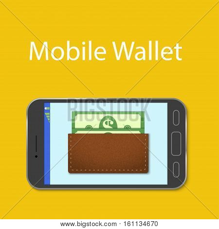 Mobile wallet concept. Wallet with money on the mobile phone screen