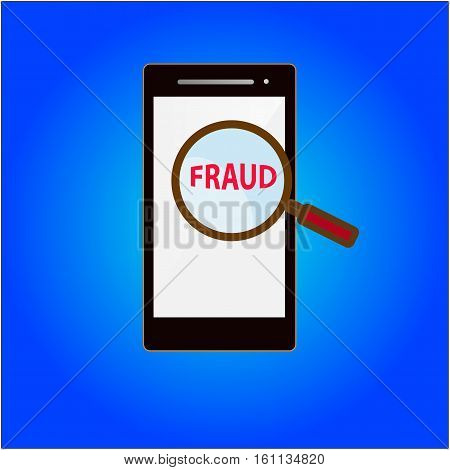 find fraud on mobile phone concept vector