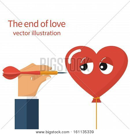 The end of love concept. Unhappy love divorce crisis relationship metaphor. Vector illustration flat design isolated. Man holding a dart in hand threatening to pierce heart. Comic sad face.