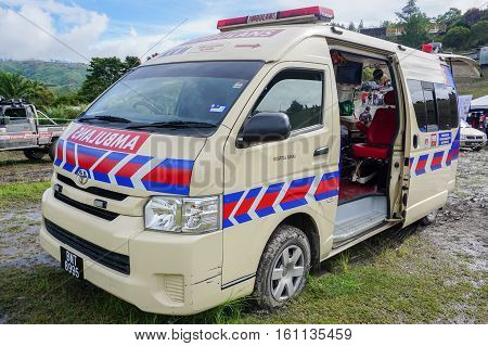Kundasang,Sabah-Dec 10,2016:Ambulance waiting on standby during the motocross race cabbage feast at Ranau,Sabah on 10th Dec 2016.